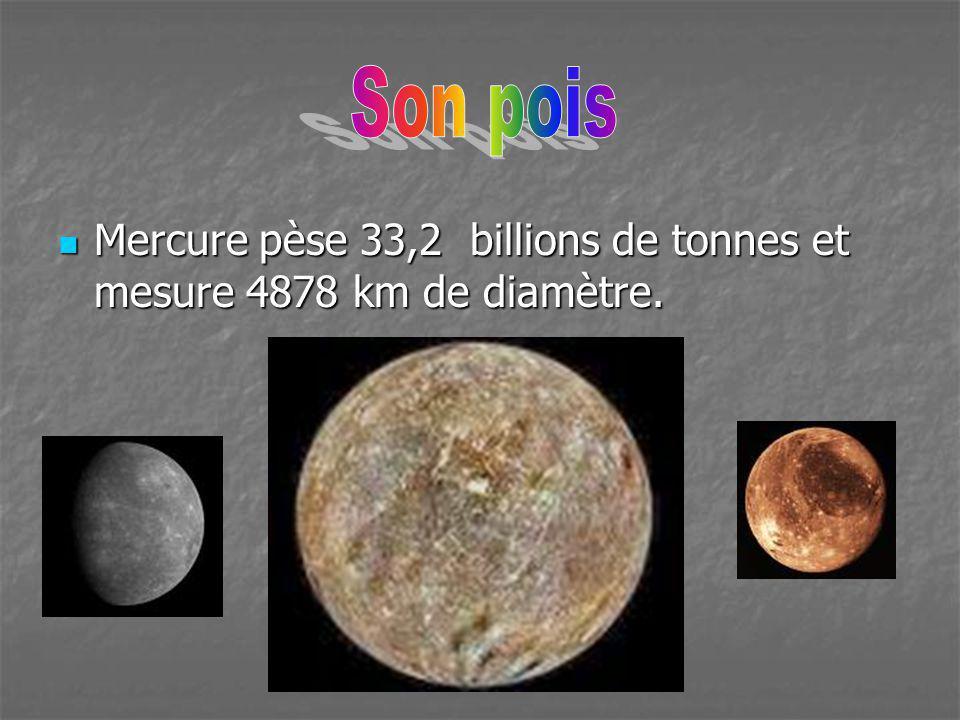 Son pois Mercure pèse 33,2 billions de tonnes et mesure 4878 km de diamètre.
