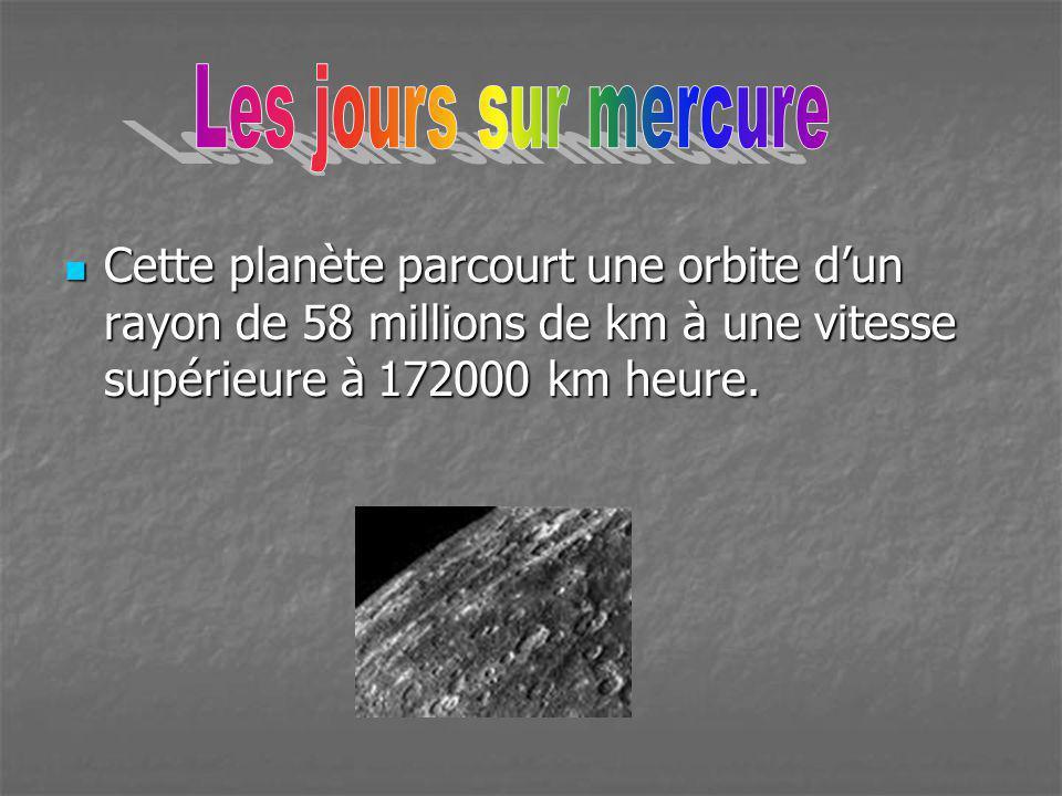 Les jours sur mercure Cette planète parcourt une orbite d'un rayon de 58 millions de km à une vitesse supérieure à 172000 km heure.