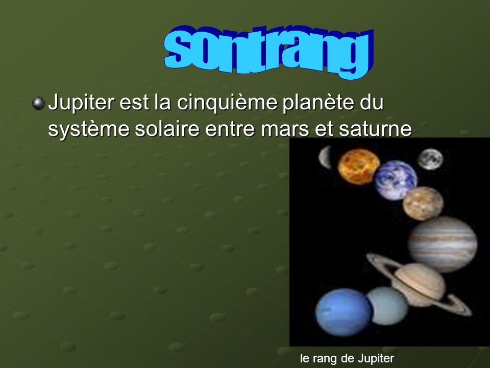 sont rang Jupiter est la cinquième planète du système solaire entre mars et saturne.