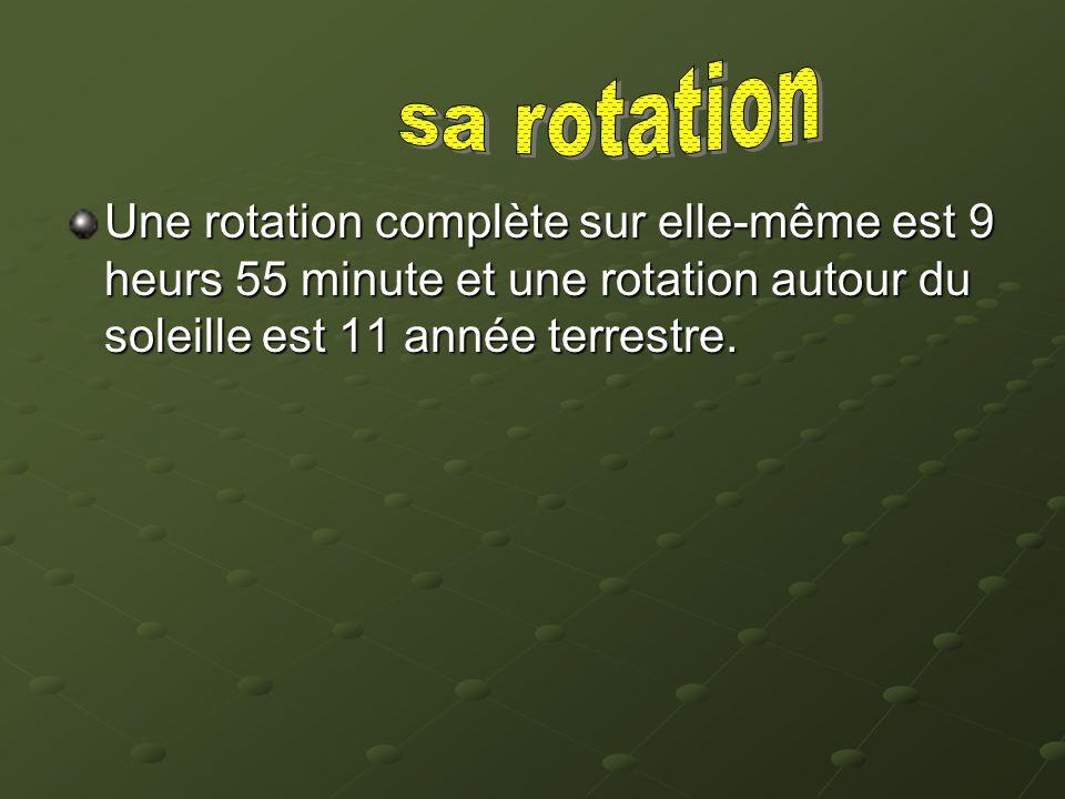 sa rotation Une rotation complète sur elle-même est 9 heurs 55 minute et une rotation autour du soleille est 11 année terrestre.
