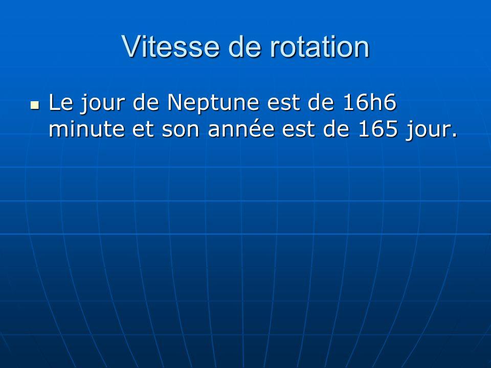 Vitesse de rotation Le jour de Neptune est de 16h6 minute et son année est de 165 jour.