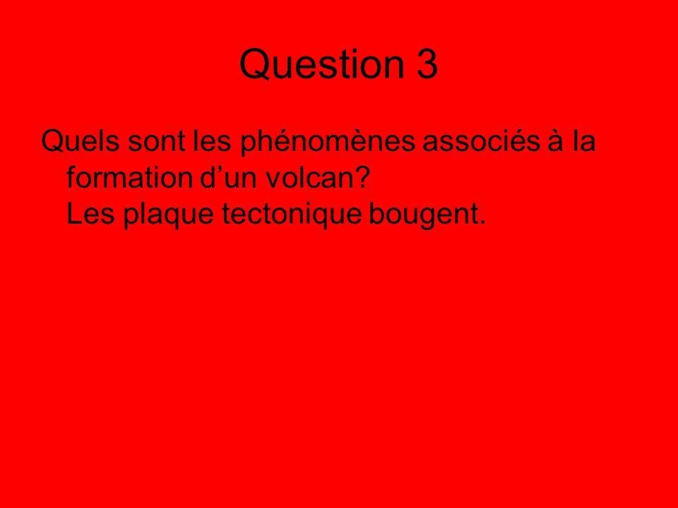 Question 3 Quels sont les phénomènes associés à la formation d'un volcan.
