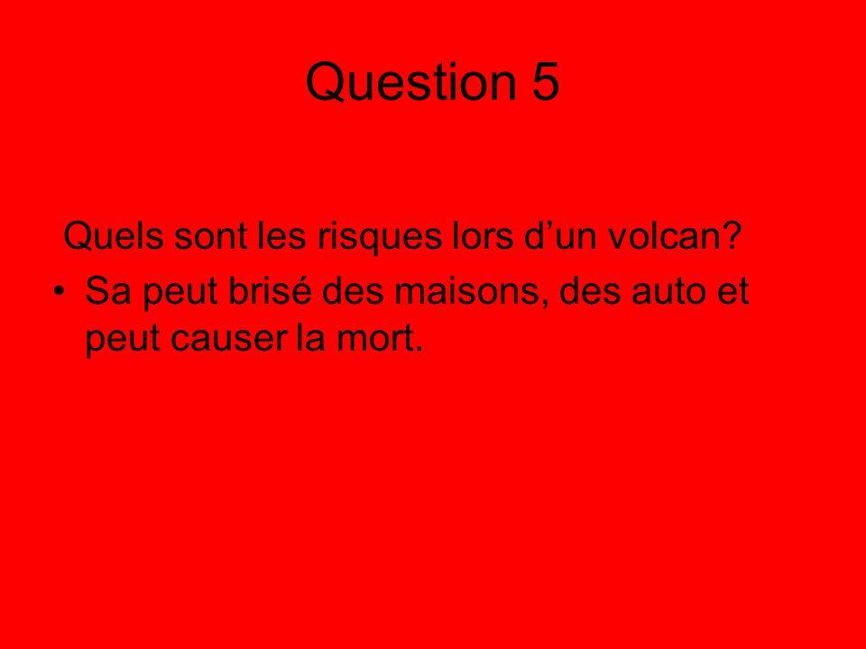 Question 5 Quels sont les risques lors d'un volcan