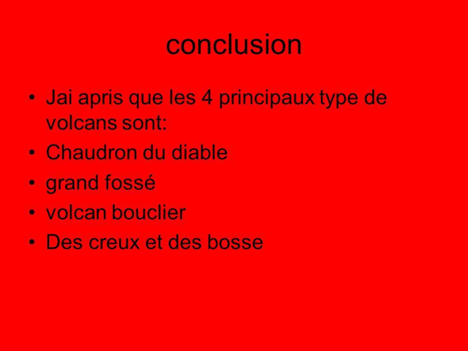 conclusion Jai apris que les 4 principaux type de volcans sont: