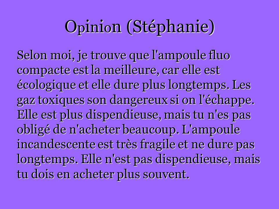 Opinion (Stéphanie) Selon moi, je trouve que l ampoule fluo