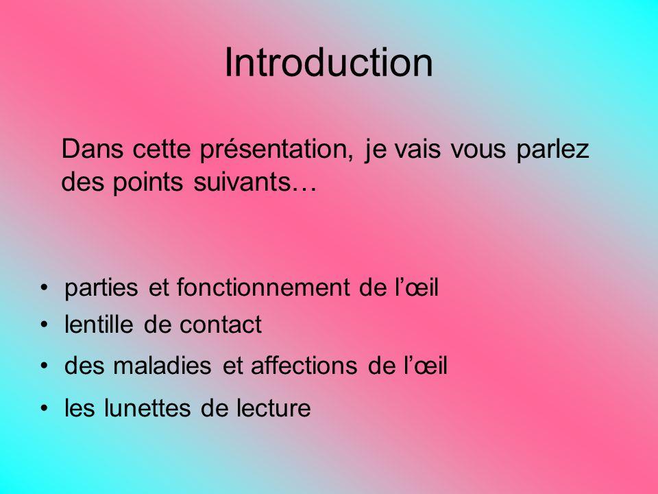 Introduction Dans cette présentation, je vais vous parlez des points suivants… parties et fonctionnement de l'œil.