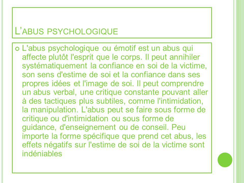 L'abus psychologique