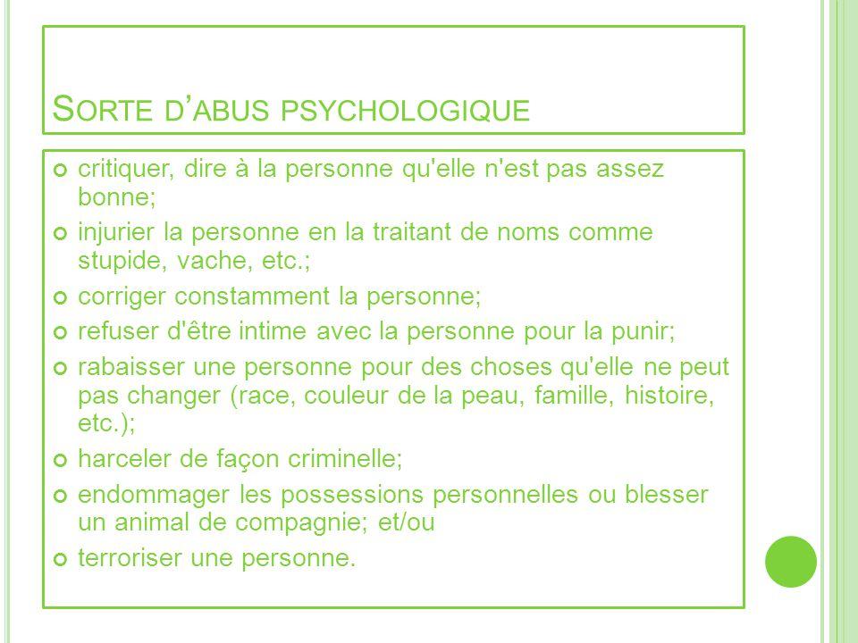 Sorte d'abus psychologique