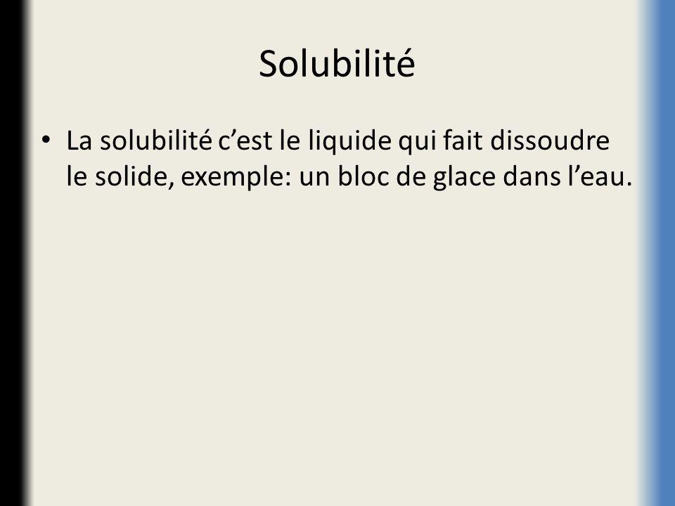 Solubilité La solubilité c'est le liquide qui fait dissoudre le solide, exemple: un bloc de glace dans l'eau.