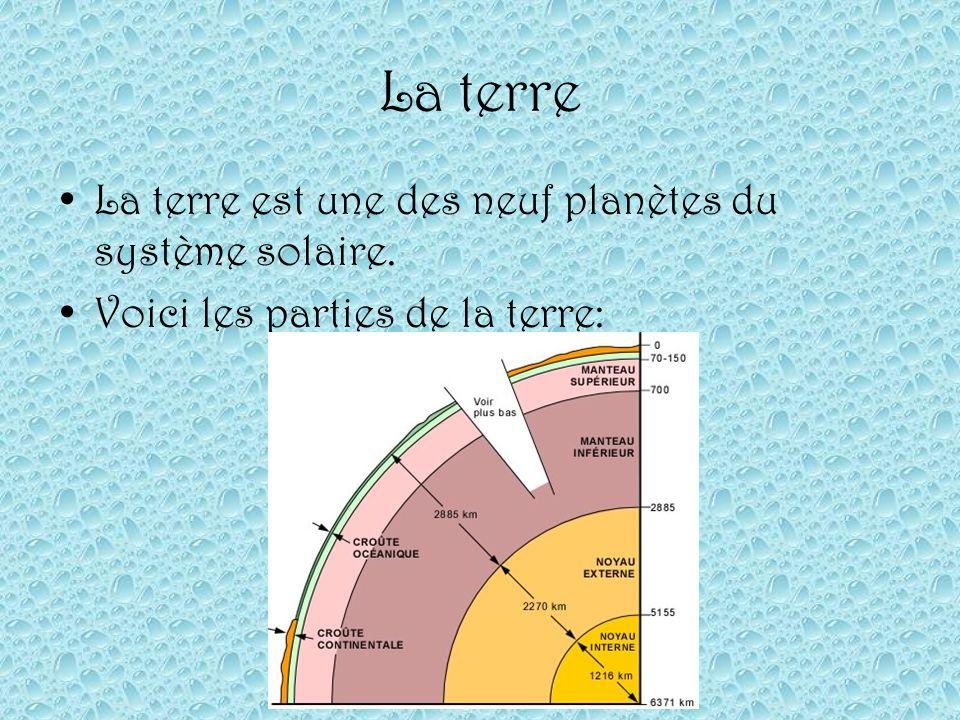 La terre La terre est une des neuf planètes du système solaire.