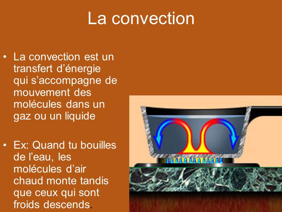 La convection La convection est un transfert d'énergie qui s'accompagne de mouvement des molécules dans un gaz ou un liquide.