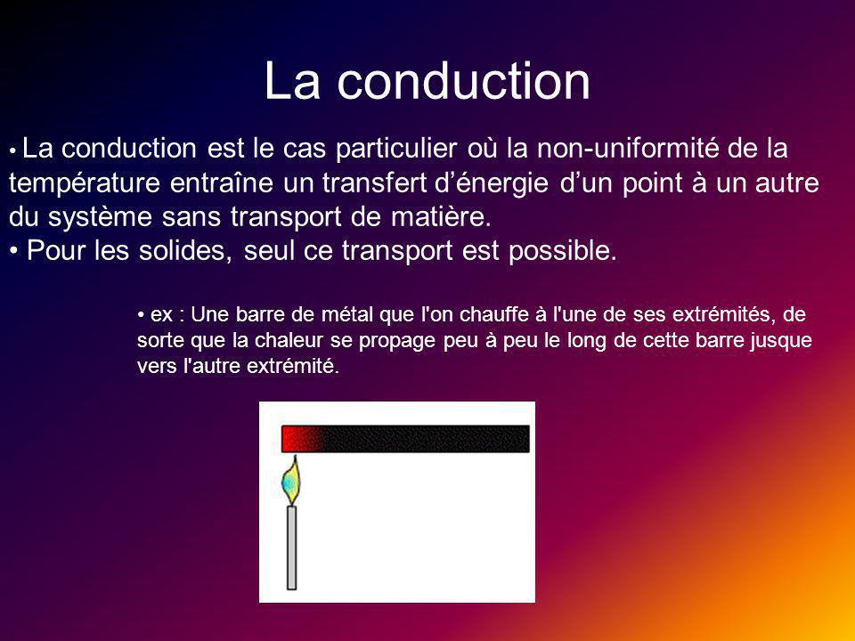 La conduction Pour les solides, seul ce transport est possible.