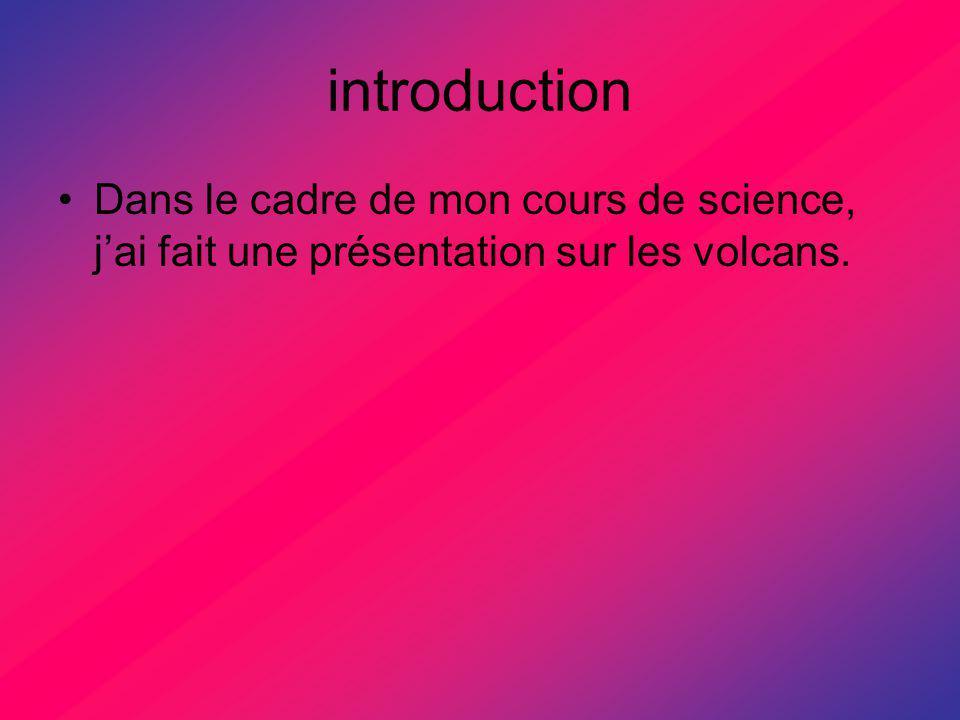 introduction Dans le cadre de mon cours de science, j'ai fait une présentation sur les volcans.