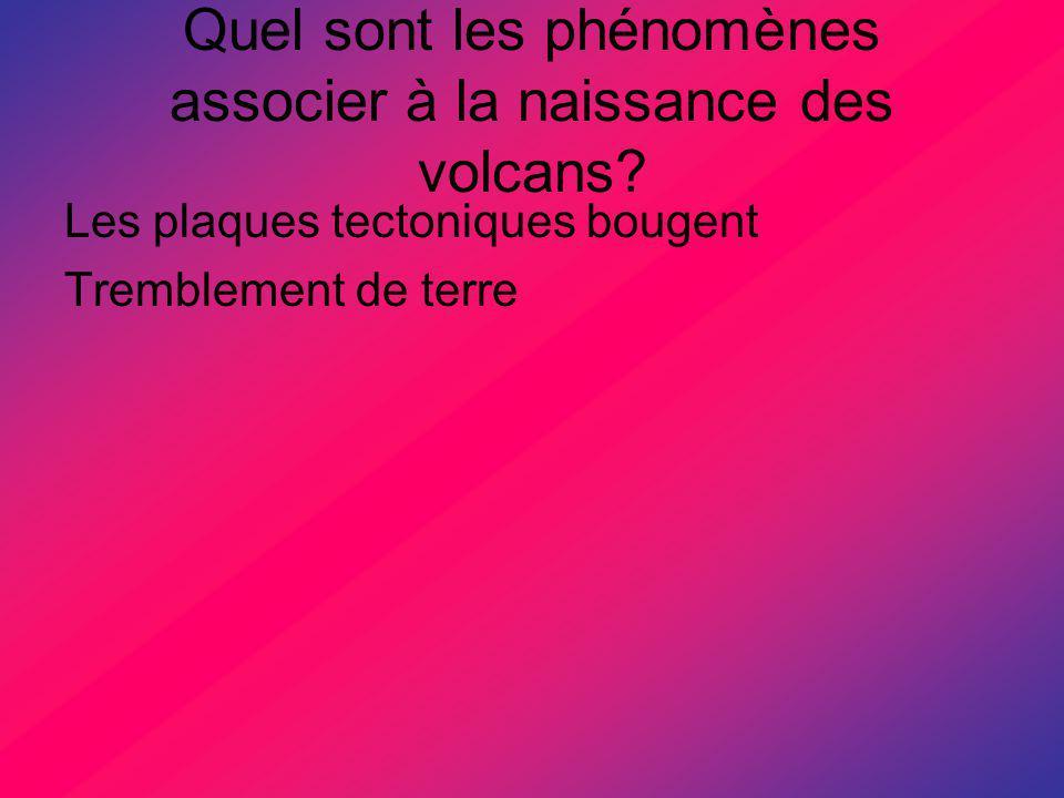 Quel sont les phénomènes associer à la naissance des volcans