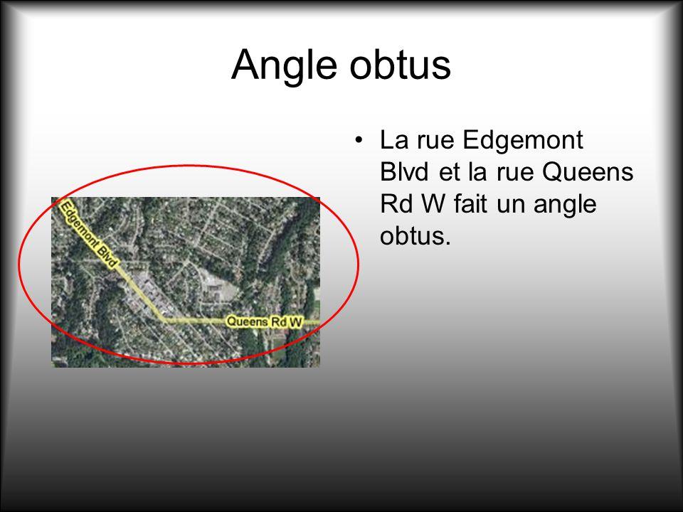 Angle obtus La rue Edgemont Blvd et la rue Queens Rd W fait un angle obtus.