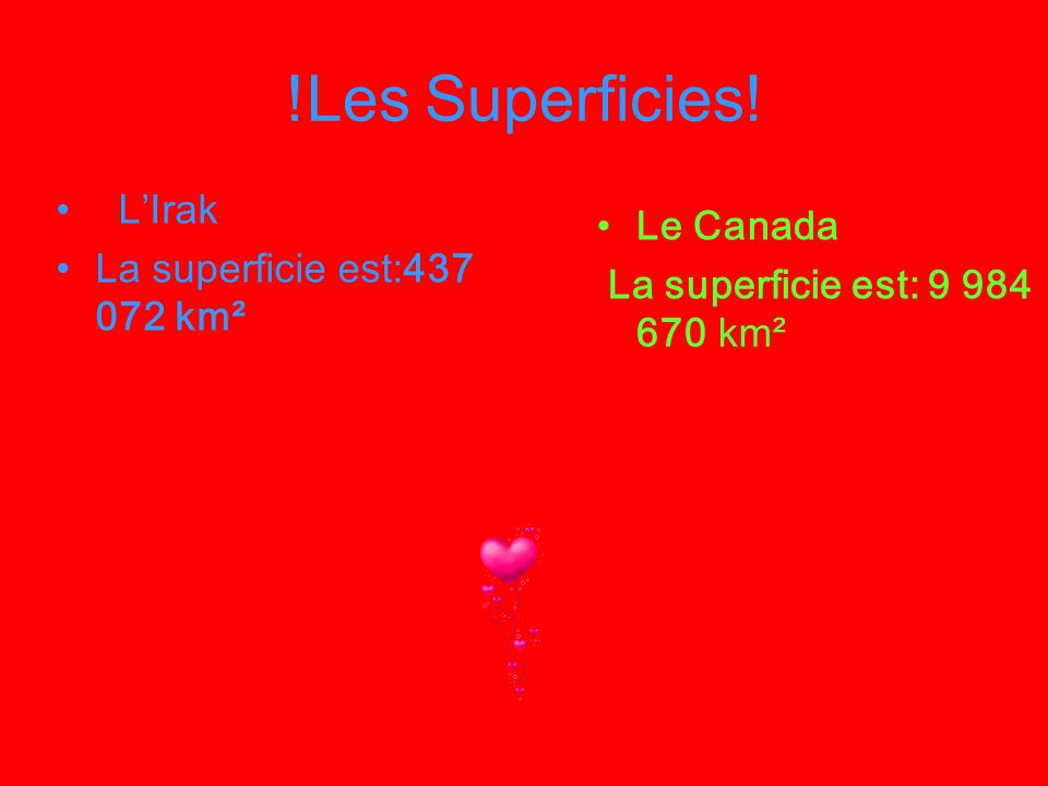 !Les Superficies! L'Irak Le Canada La superficie est:437 072 km²