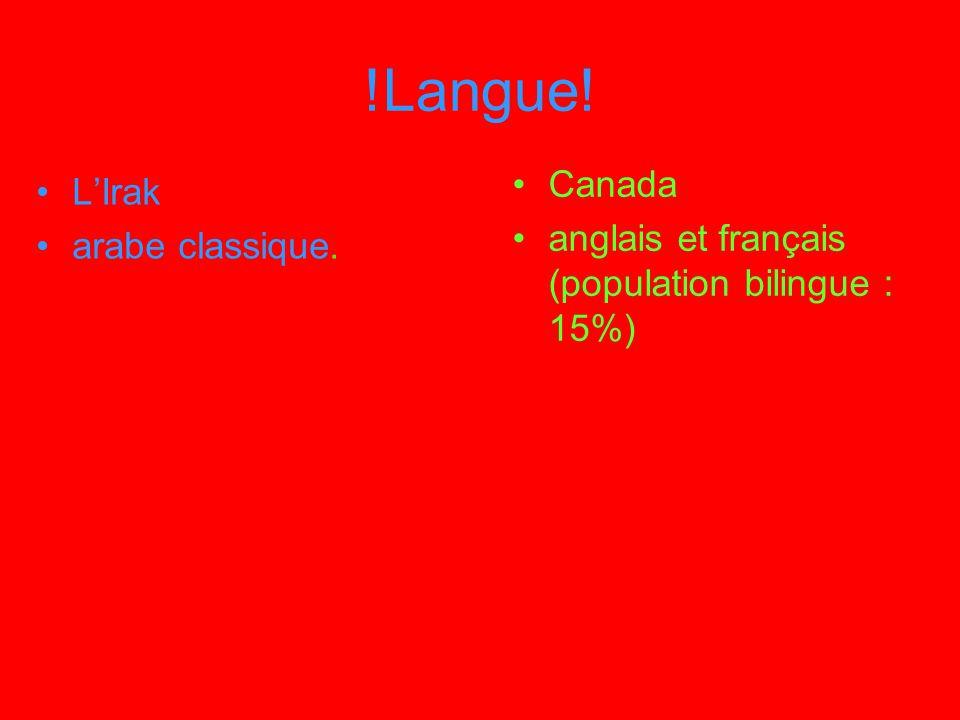!Langue! Canada L'Irak anglais et français (population bilingue : 15%)