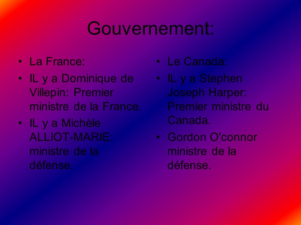 Gouvernement: La France: