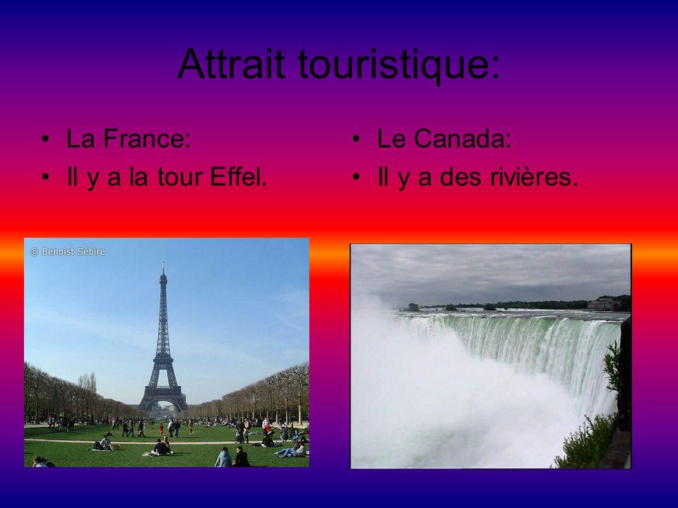 Attrait touristique: La France: Il y a la tour Effel. Le Canada: