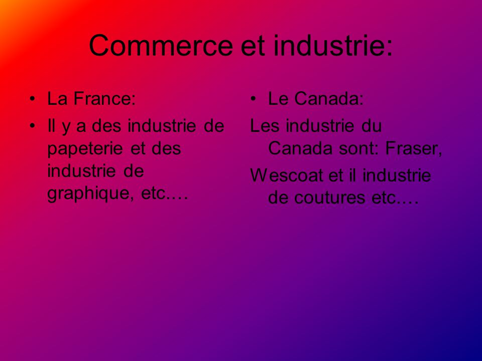 Commerce et industrie: