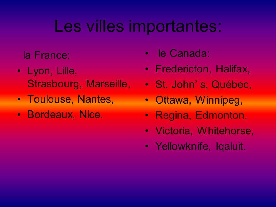 Les villes importantes: