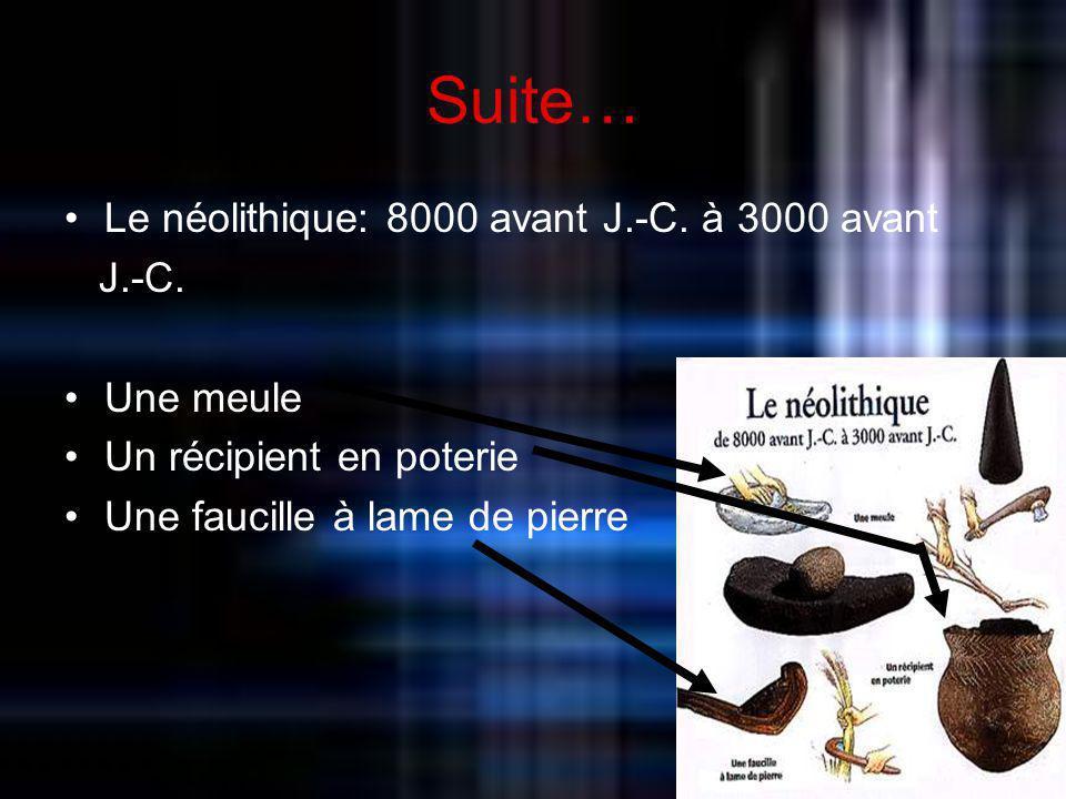 Suite… Le néolithique: 8000 avant J.-C. à 3000 avant J.-C. Une meule