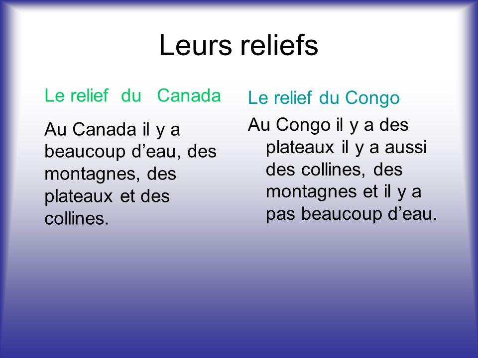 Leurs reliefs Le relief du Canada Le relief du Congo
