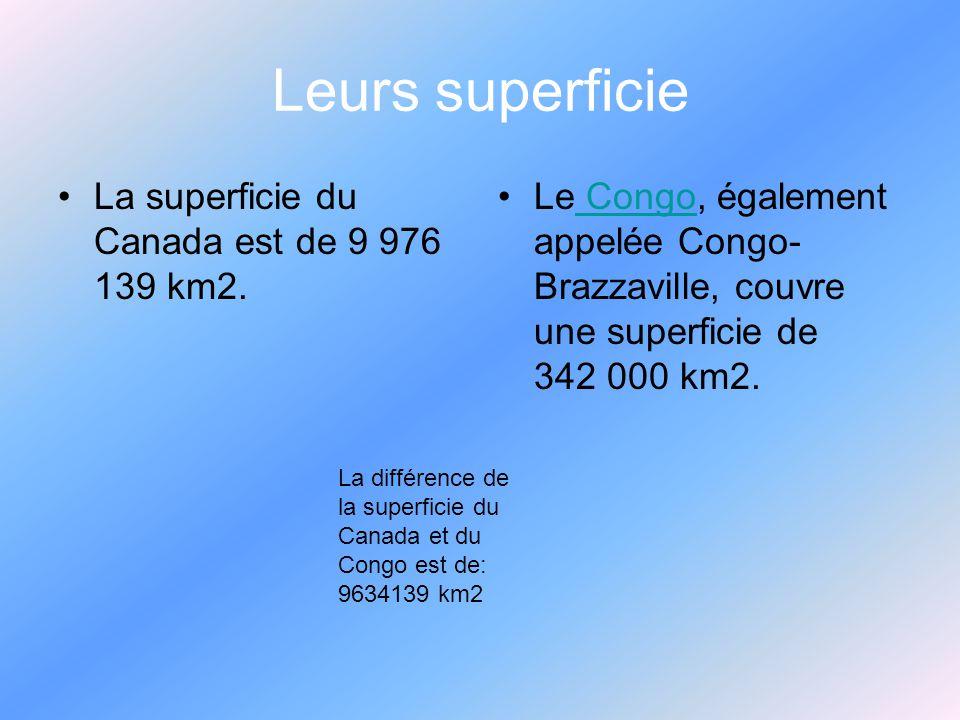 Leurs superficie La superficie du Canada est de 9 976 139 km2.