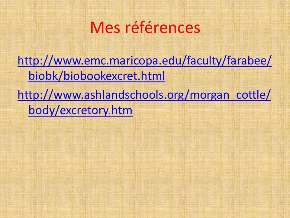 Mes références http://www.emc.maricopa.edu/faculty/farabee/biobk/biobookexcret.html http://www.ashlandschools.org/morgan_cottle/body/excretory.htm