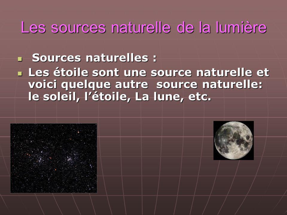 Les sources naturelle de la lumière