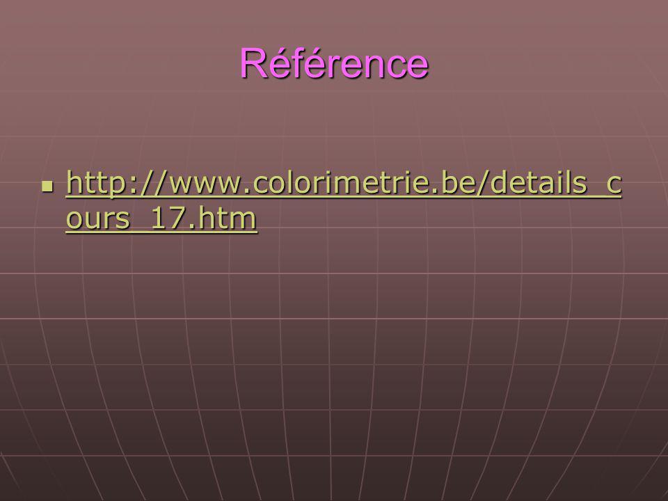 Référence http://www.colorimetrie.be/details_cours_17.htm