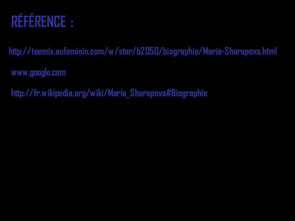 RÉFÉRENCE : http://teemix.aufeminin.com/w/star/b2050/biographie/Maria-Sharapova.html. www.google.com.