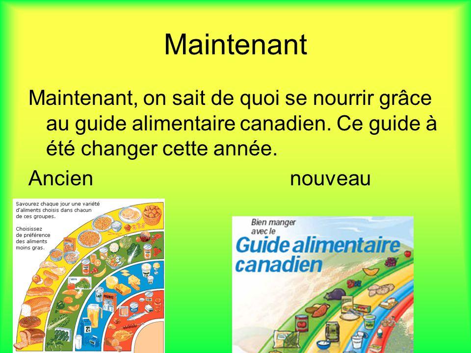 Maintenant Maintenant, on sait de quoi se nourrir grâce au guide alimentaire canadien. Ce guide à été changer cette année.