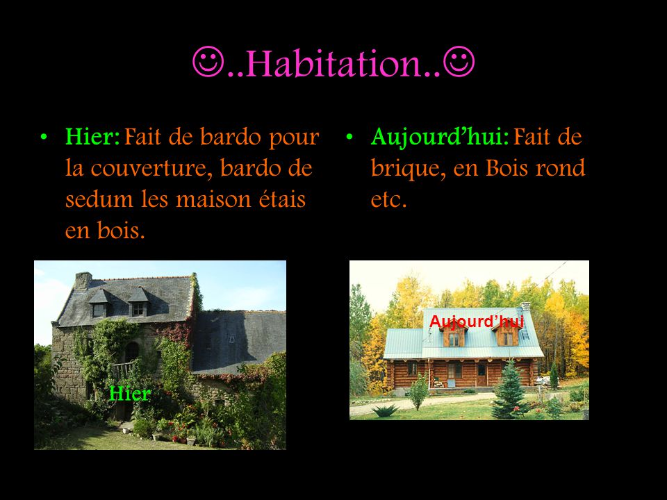 ..Habitation.. Hier: Fait de bardo pour la couverture, bardo de sedum les maison étais en bois. Aujourd'hui: Fait de brique, en Bois rond etc.