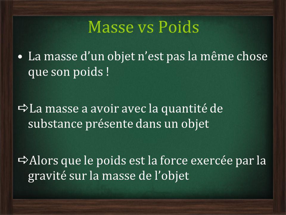 Masse vs Poids La masse d'un objet n'est pas la même chose que son poids ! La masse a avoir avec la quantité de substance présente dans un objet.