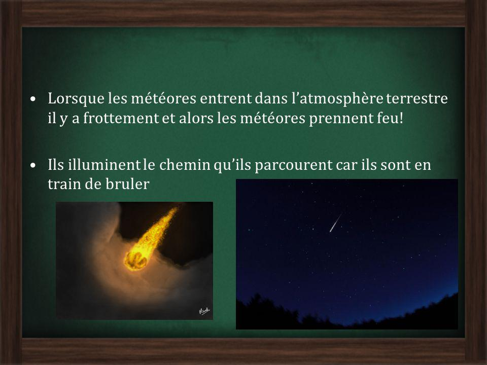 Lorsque les météores entrent dans l'atmosphère terrestre il y a frottement et alors les météores prennent feu!