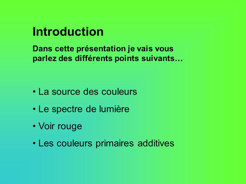 Introduction La source des couleurs Le spectre de lumière Voir rouge