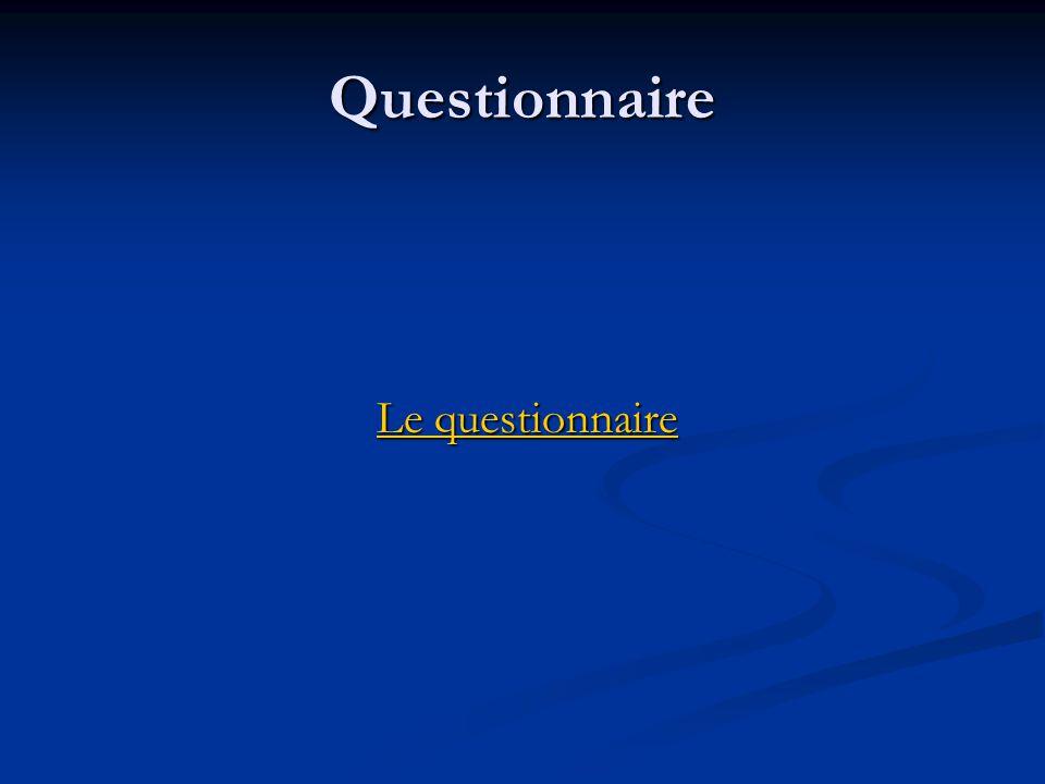 Questionnaire Le questionnaire