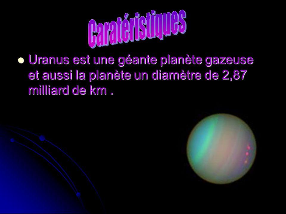 Caratéristiques Uranus est une géante planète gazeuse et aussi la planète un diamètre de 2,87 milliard de km .