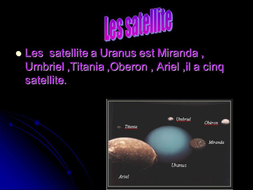 Les satellite Les satellite a Uranus est Miranda , Umbriel ,Titania ,Oberon , Ariel ,il a cinq satellite.