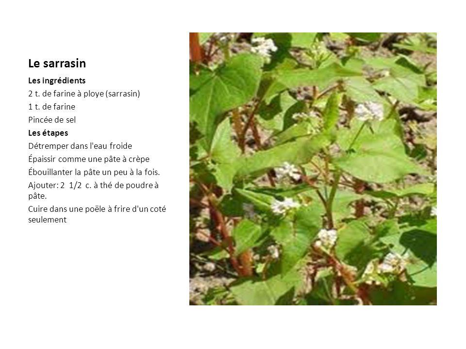 Le sarrasin Les ingrédients 2 t. de farine à ploye (sarrasin)