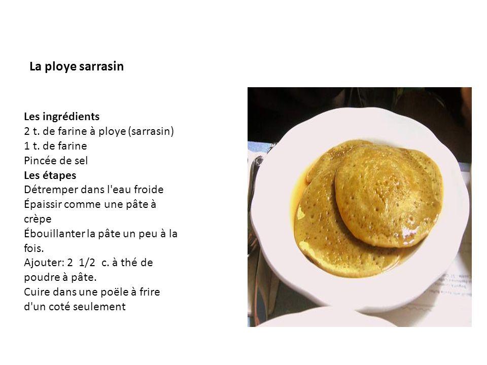 La ploye sarrasin Les ingrédients 2 t. de farine à ploye (sarrasin)
