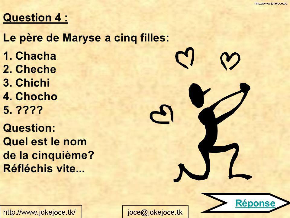 Le père de Maryse a cinq filles: 1. Chacha 2. Cheche 3. Chichi