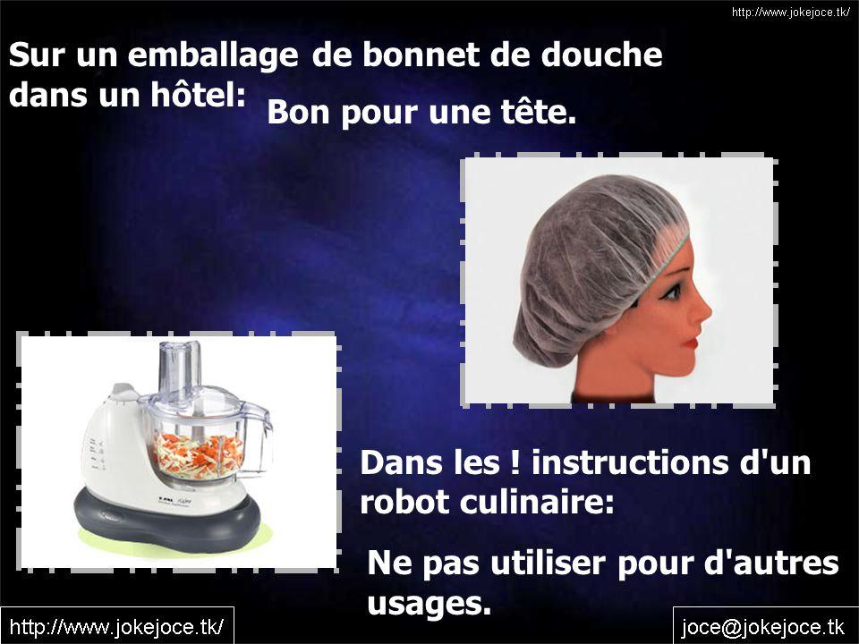 Sur un emballage de bonnet de douche dans un hôtel: