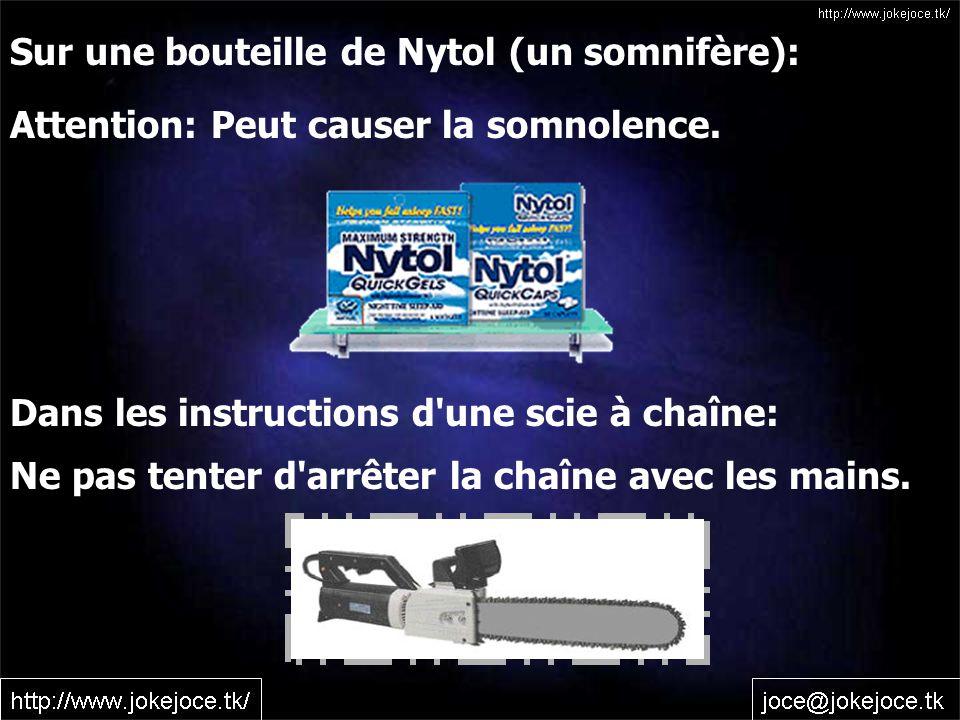 Sur une bouteille de Nytol (un somnifère):