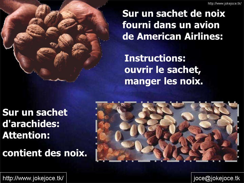 Sur un sachet de noix fourni dans un avion. de American Airlines: