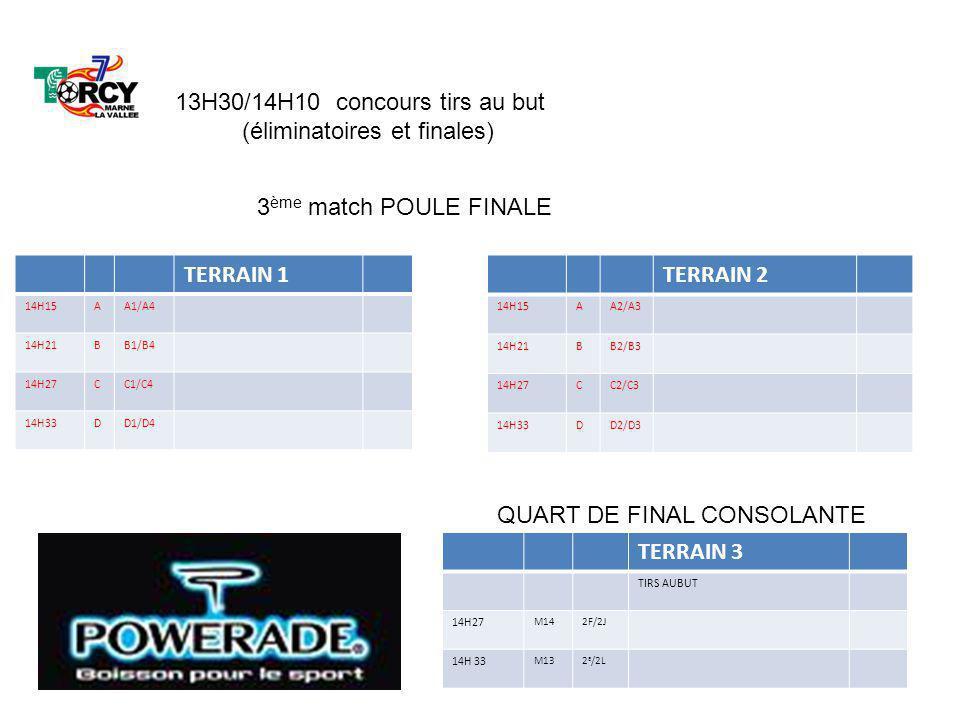 13H30/14H10 concours tirs au but (éliminatoires et finales)