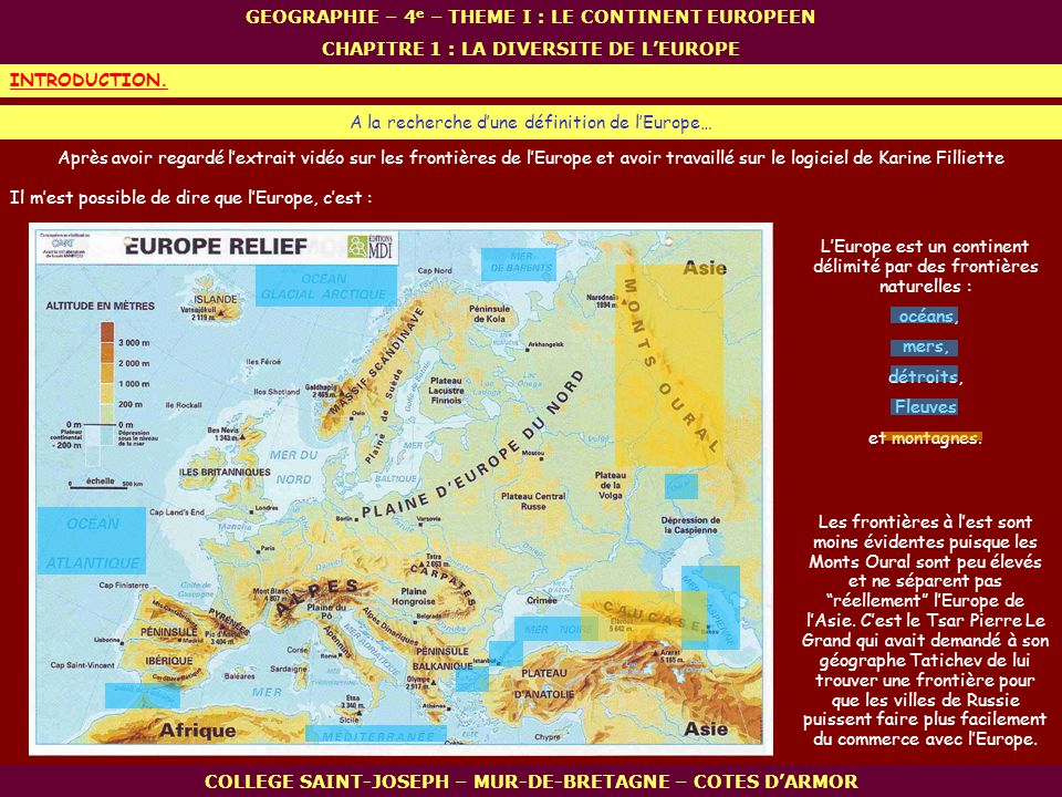 GEOGRAPHIE – 4e – THEME I : LE CONTINENT EUROPEEN