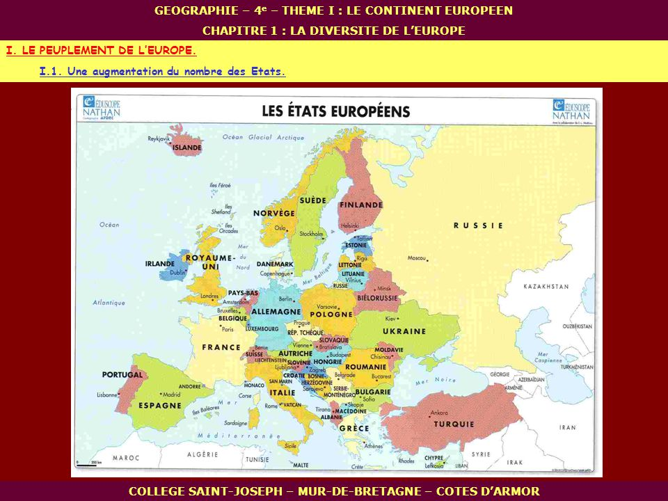 I. LE PEUPLEMENT DE L'EUROPE.