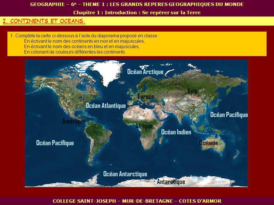 Océan Arctique Asie Europe Océan Atlantique Océan Pacifique Amérique